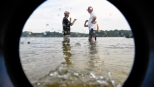 This image was taken through one of the buckets with a clear bottom, which will allow the volunteers to see underwater grass more clearly.